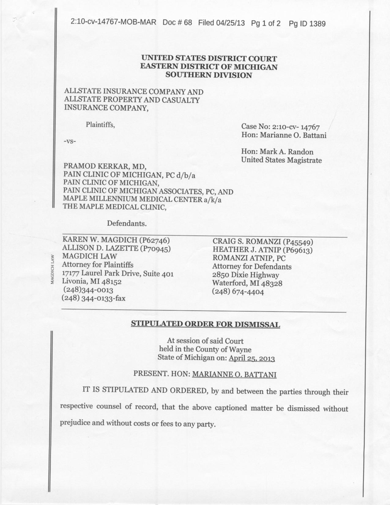 Pramod Kerkar, MD Vs Allstate: Dismissal of Lawsuit 2013
